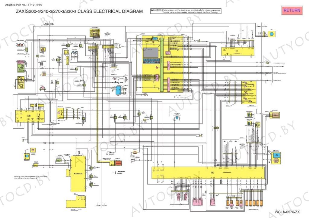 Hitachi экскаватор электрическая схема